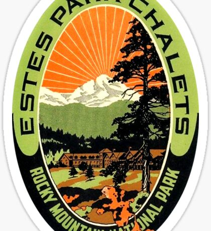 Estes Park Chalets Rocky Mountain National Park Vintage Travel Decal Sticker