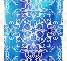 White Floral Painted Pattern on Blue Watercolor by micklyn