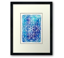 White Floral Painted Pattern on Blue Watercolor Framed Print