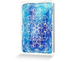 White Floral Painted Pattern on Blue Watercolor Greeting Card
