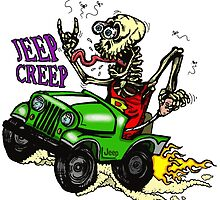 "Jeep Creep ""Rat Fink"" Style Skeleton by maroonbeard"