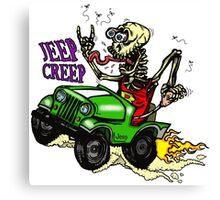 "Jeep Creep ""Rat Fink"" Style Skeleton Canvas Print"