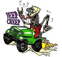 "Jeep Creep ""Rat Fink"" Style Skeleton Photographic Print"