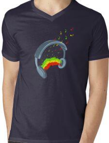 Headphones with reggae music Mens V-Neck T-Shirt