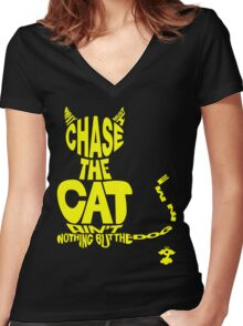 Chase the Cat - Cloud Nine (Yellow) Women's Fitted V-Neck T-Shirt