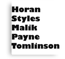 one direction- last names Canvas Print