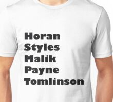 one direction- last names Unisex T-Shirt