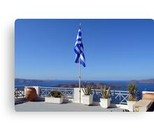 Cacti in flower pots and flag in Santorini, Greece Canvas Print