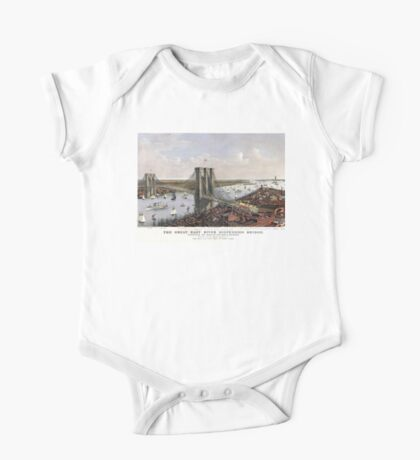 New York - Great East River Suspension Bridge - 1885 One Piece - Short Sleeve