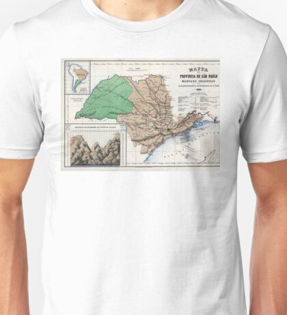 Map of the province of São Paulo - 1886 Unisex T-Shirt
