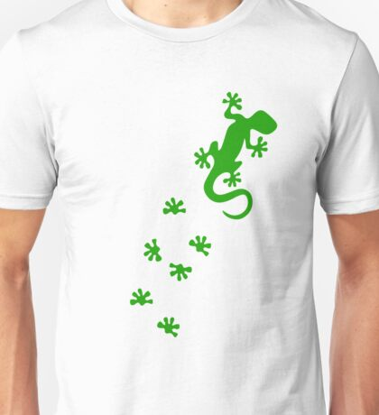 Green Lizard Footprints Design Unisex T-Shirt