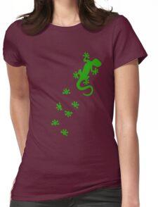 Green Lizard Footprints Design Womens Fitted T-Shirt