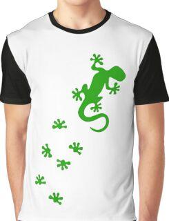 Green Lizard Footprints Design Graphic T-Shirt