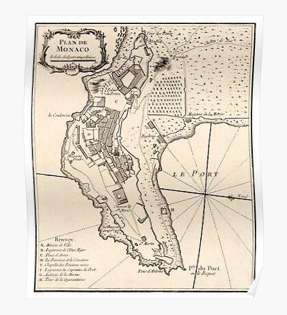 Plan de Monaco - 1764 Poster