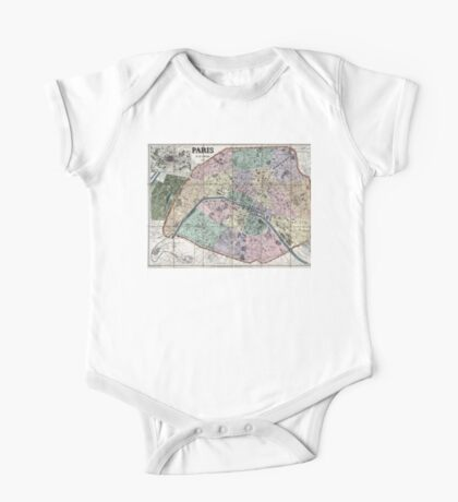 Map of Paris, France - 1878 One Piece - Short Sleeve