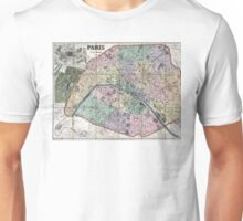 Map of Paris, France - 1878 Unisex T-Shirt