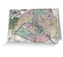Map of Paris, France - 1878 Greeting Card