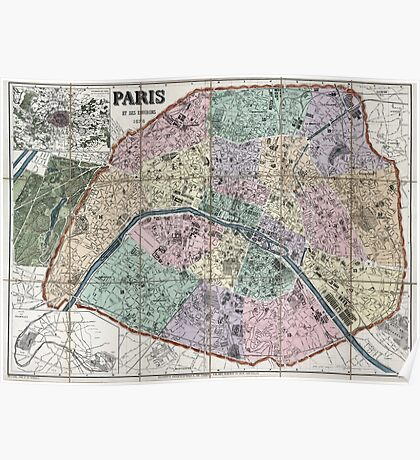 Map of Paris, France - 1878 Poster