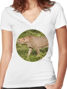 Spotted Women's Fitted V-Neck T-Shirt