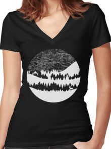 Map Silhouette Circle Women's Fitted V-Neck T-Shirt