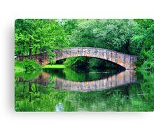 Summer landscape with a bridge Canvas Print