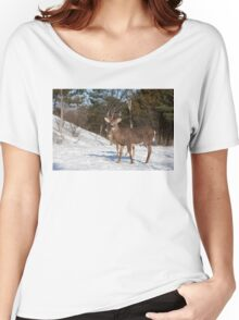White-tailed deer buck and fawn in the winter snow Women's Relaxed Fit T-Shirt
