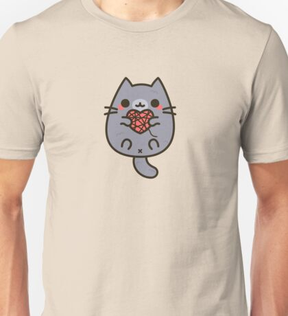 Cute kitty with heart yarn Unisex T-Shirt