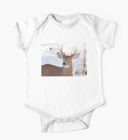 White-tailed deer buck in the winter snow One Piece - Short Sleeve