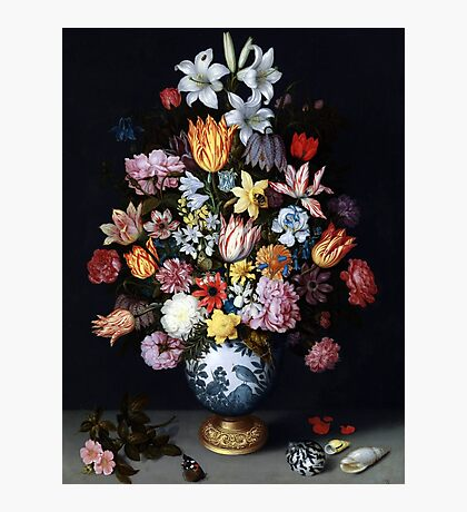 Ambrosius Bosschaert the Elder, A Still Life of Flowers in a Wanli Vase on a Ledge with further Flowers, Shells and a Butterfly,  Photographic Print