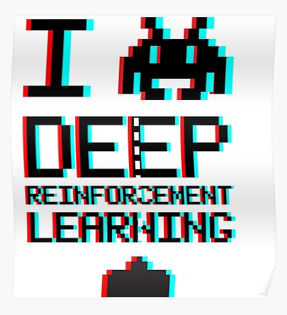 I heart deep reinforcement learning, capital (8-bit 3D) Poster