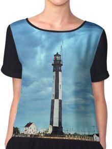 New Cape Henry Lighthouse, Chesapeake Bay, Virginia Chiffon Top