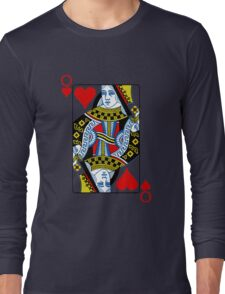Queen of hearts playing card Long Sleeve T-Shirt
