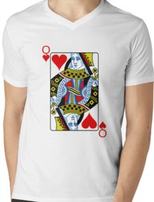 Queen of hearts playing card Mens V-Neck T-Shirt