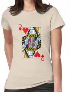 Queen of hearts playing card Womens Fitted T-Shirt