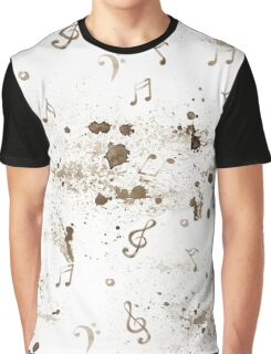 Watercolor music notes pattern on white background Graphic T-Shirt