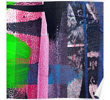 Cool graffiti grunge style details in pink green red and blue Poster