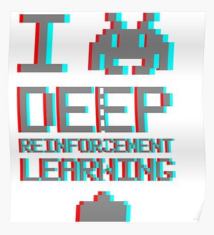 I heart deep reinforcement learning, capital grey (8-bit 3D) Poster