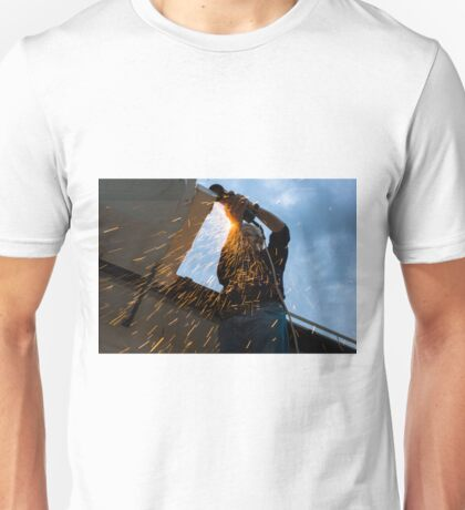 worker cutting metal  Unisex T-Shirt