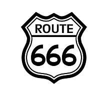 Route 666 road sign (route 66) Photographic Print