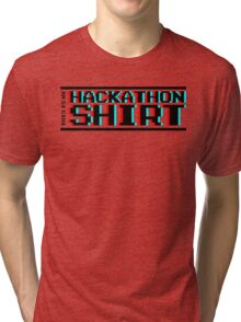 Hackathon shirt, block (8-bit 3D) Tri-blend T-Shirt