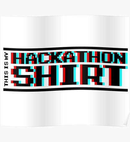 Hackathon shirt, block (8-bit 3D) Poster