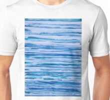 Blue lines with red dot Unisex T-Shirt