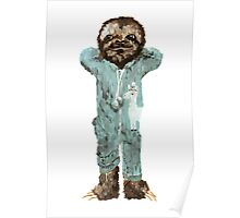Baby Sloth in Onesie Pajamas Poster