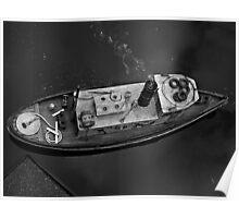 River Tug Boat Replica in Black & White Poster