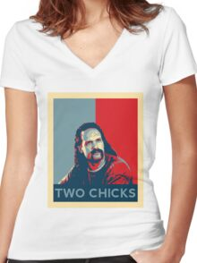 Men's Office Space Neighbor Lawrence - Two Chicks Same Time  Women's Fitted V-Neck T-Shirt