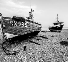 Two abandoned fishing boats on Dungeness beach, Kent - Black and White by Luke Farmer
