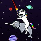 Unicorn Riding Narwhal In Space by jezkemp