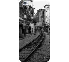 Railway tracks through Hanoi, Vietnam - Black and White iPhone Case/Skin