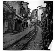 Railway tracks through Hanoi, Vietnam - Black and White Poster