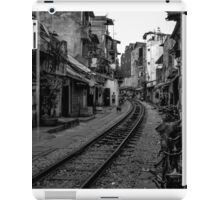Railway tracks through Hanoi, Vietnam - Black and White iPad Case/Skin
